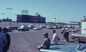 My brother and I watch the races held around the old Metropolitan Stadium in Minneapolis.
