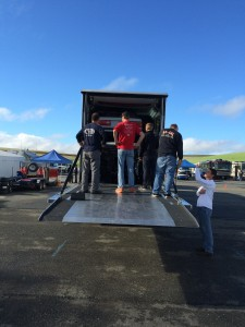 Unloading the might Pro3 car.