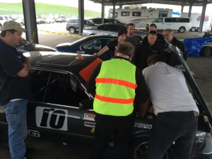 The agony of post race tech inspection. The whole crew stood by and watched.