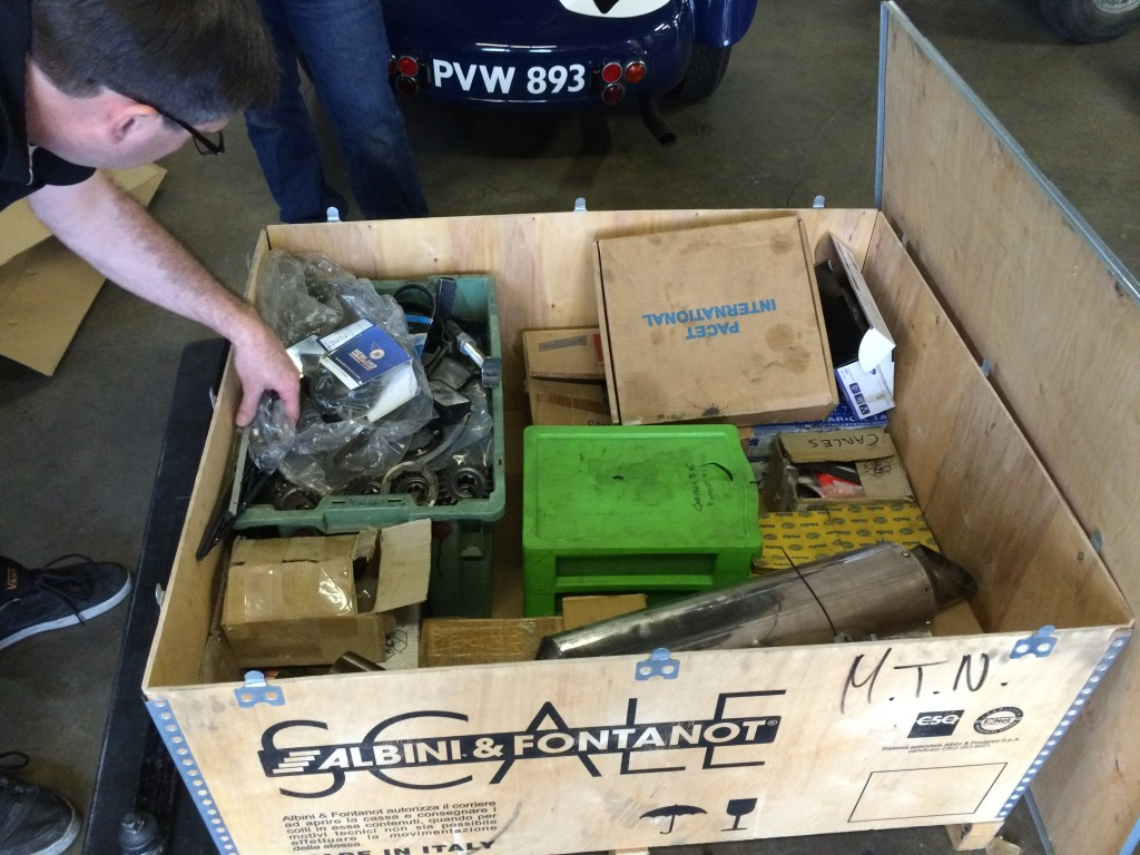 One of the boxes of spare parts that came with the car.